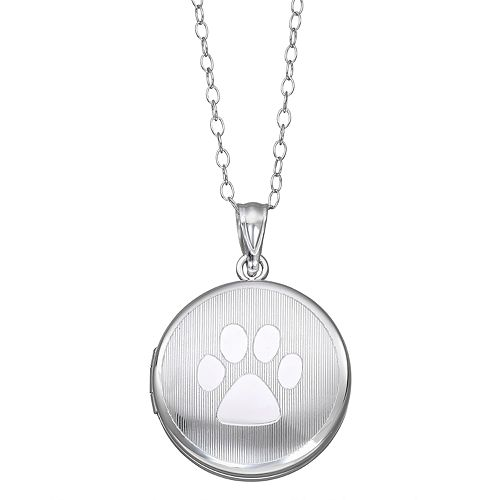 Sterling Silver Paw Print Locket Necklace