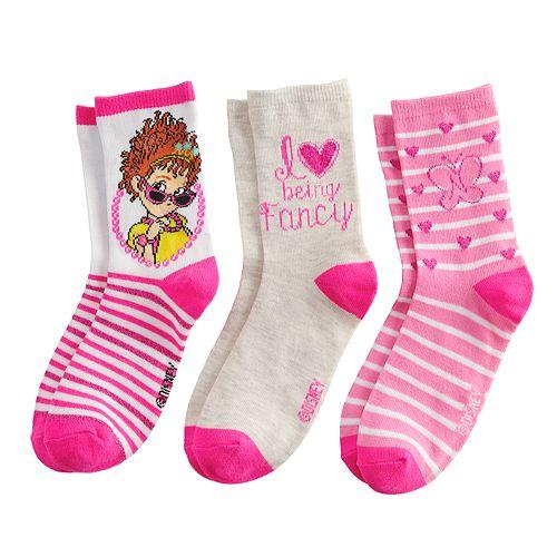 Girls Fancy Nancy Love Being Socks 3-Pack