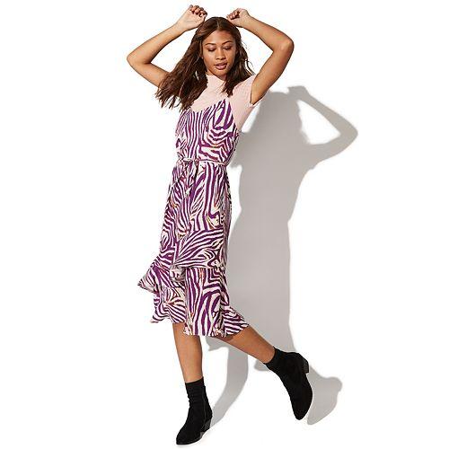 Juniors' Vylette Tiered Slip Dress
