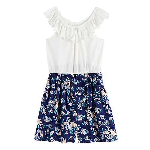 Girls' Four Threads Knit Rib to Printed Woven Ruffle Neckline Romper