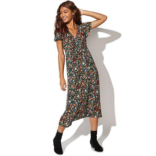Juniors' Vylette Prairie Print Long Dress