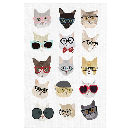 Fine Art Canvas Cats with Glasses Canvas Wall Art
