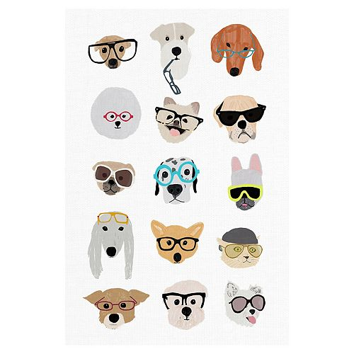 Fine Art Canvas Dogs with Glasses Canvas Wall Art