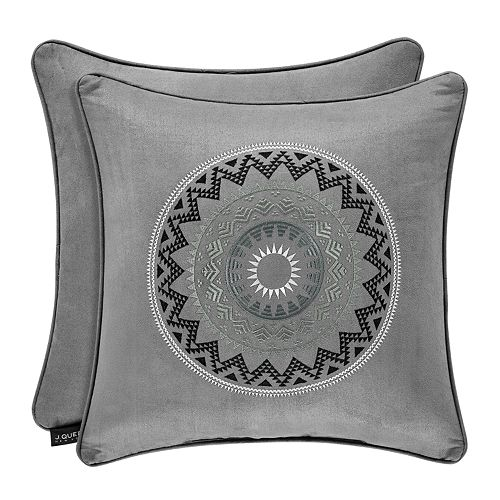 37 West Brody Silver Square Embellished Decorative Throw Pillow
