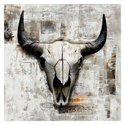 Fine Art Canvas White Cowskull Canvas Wall Art