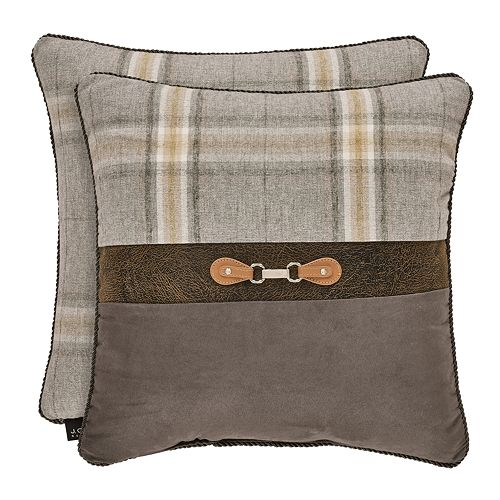 37 West Jamison Grey Square Embellished Decorative Throw Pillow