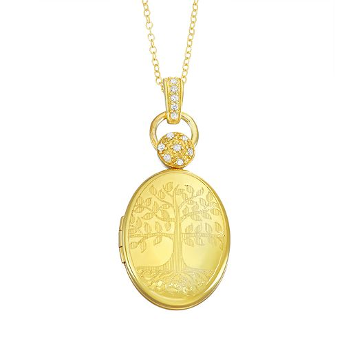 Sterling Silver Diamond Accent Oval Tree of Life Locket Necklace