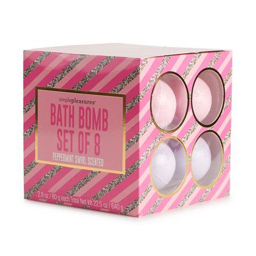 Simple Pleasures Peppermint Swirl Scented Bath Bomb Set