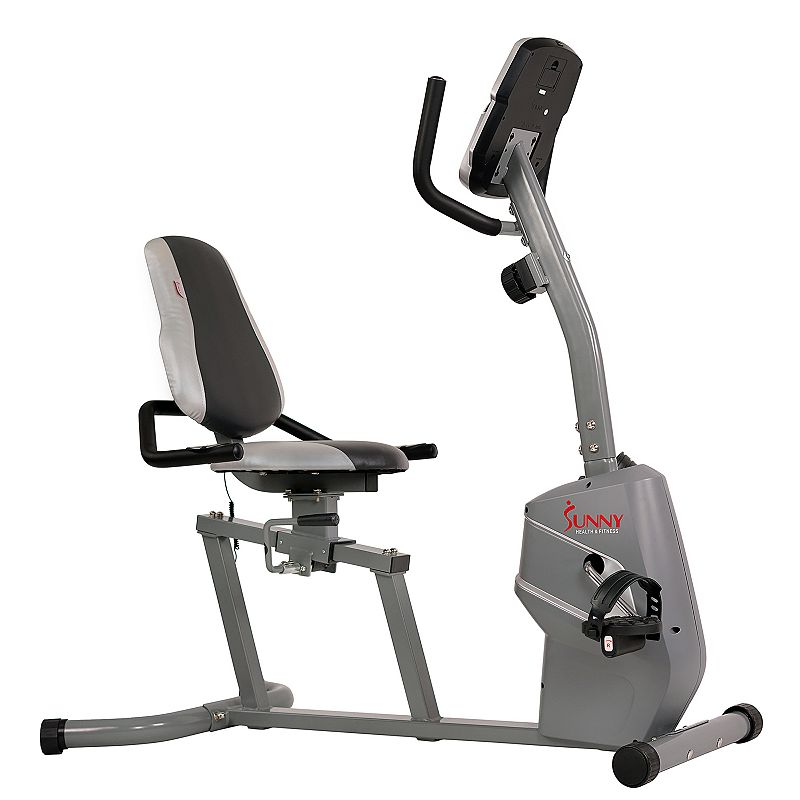Sunny Health & Fitness Magnetic Recumbent Exercise Bike w/ Easy Adjustable Seat, Grey Get a low-impact cardio exercise in the convenience of your home with the Magnetic Recumbent Bike by Sunny Health & Fitness. Get a low-impact cardio exercise in the convenience of your home with the Magnetic Recumbent Bike by Sunny Health & Fitness. Watch the product video here. Conducive to a low-impact workout Choose between 8 levels of magnetic resistance while exercising Easy mount/dismount Exclusive design makes adjusting your seat easy while you remain seated on the bike Grab on to the pulse grips during your exercise to get a real-time reading of your heart rate during your exercise Control the intensity of your exercise with a turn of a knob Choose between 8 levels of magnetic resistance while exercising Pulse grips provide real-time reading of heart rate Built-in display shows your exercise duration, distance, speed, rotations per minute, heart rate, and total calories burned Onboard computer also includes BMI calculator function, thermometer (for room temperature), clock, and calendar application Wide adjustable seat with back support Multi-grip handles End levelers Move from room to room with convenient transportation wheels 48.5 H x 27 W x 47 L Weight capacity: 220 lbs. 2 AA batteries required (included) Metal Structural frame: manufacturer's 3-year limited warrantyOther parts and components: manufacturer's 180-day limited warrantyFor warranty information please click here Model no. SF-RB4806 WARNING: Cancer and Reproductive Harm. For more information go to www.P65Warnings.ca.gov. Size: One Size. Color: Grey. Gender: unisex. Age Group: adult.