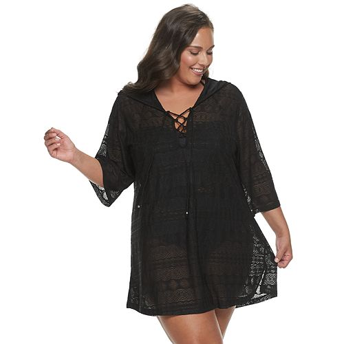 Plus Size Apt. 9® Hooded Lace-Up Tunic Cover-Up