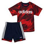 Baby Boy adidas Abstract Tee & Striped Shorts Set