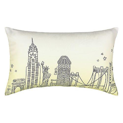 Waverly Spree Cityscape Landmark Ombre Decorative Pillow