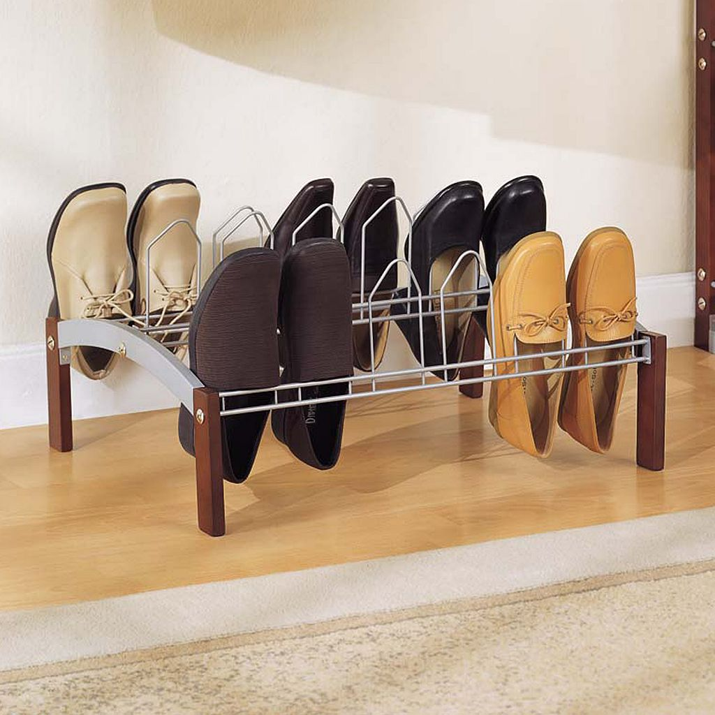 Neu Home 18-Prong Metal Concord Shoe Rack - Espresso Brown