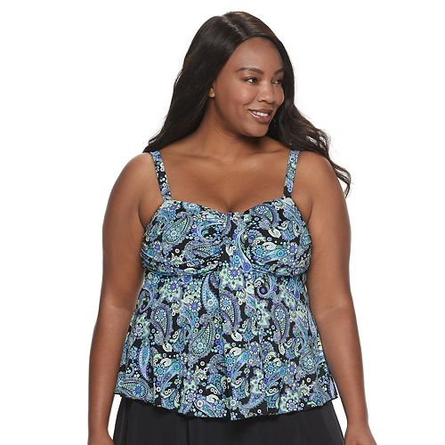 Plus Size A Shore Fit Paisley Tummy Slimmer Waterfall Tankini Top