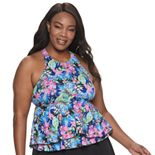 Plus Size A Shore Fit Floral Hip Minimizing Babydoll Tankini Top