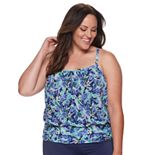 Plus Size A Shore Fit Floral Tummy Slimming Mesh Blouson Tankini