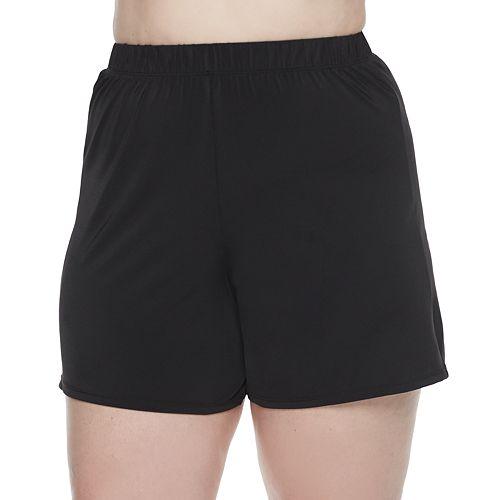 Plus Size A Shore Fit Hip Minimizer Solid Swim Short