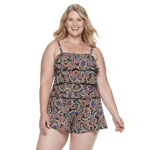 Plus Size A Shore Fit Hip Minimizer Tiered One-Piece Romper