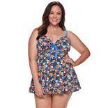 Plus Size A Shore Fit! Spice Market Vintage Tie Front Swim Dress