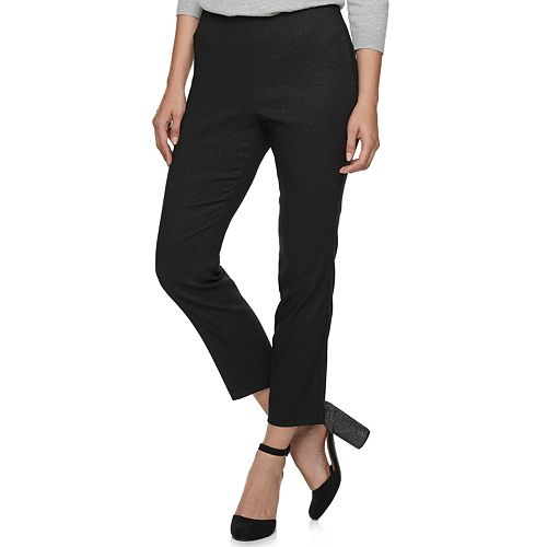 Women's ELLE™ Scallop Pull On Ponte Skinny Ankle Pants