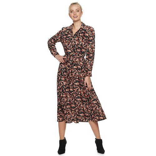 Women's ELLE™ Button Up Floral Print Maxi Dress