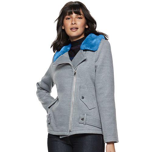Women's Nine West Oversized Belted Moto Coat