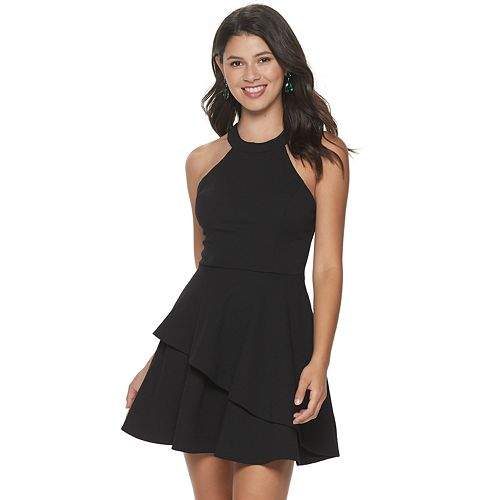 Juniors' Speechless Bow Back Double Tiered Skater Dress
