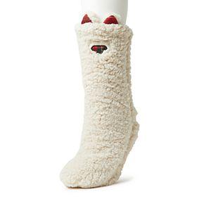 Dearfoams Sherpa Furry Slipper Sock with Plaid Scrunchie