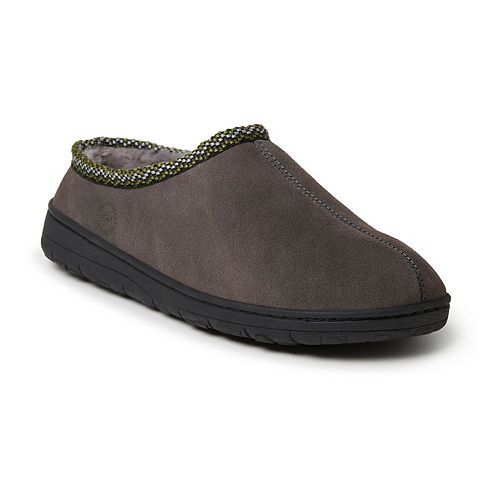 Men's Dearfoams Genuine Suede Clog With Woven Accent