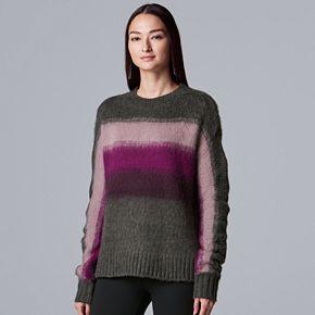 Women's Simply Vera Vera Wang Base Placed Stripe Sweater