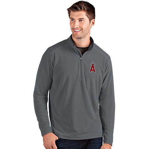 Men's Antigua Los Angeles Angels of Anaheim Grey Glacier Quarter-Zip Pullover