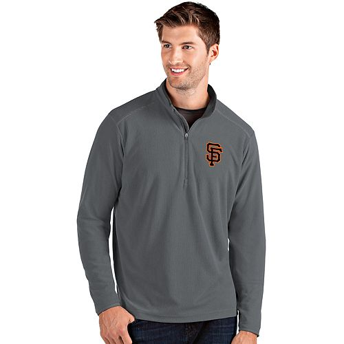 Men's Antigua San Francisco Giants Grey Glacier Quarter-Zip Pullover