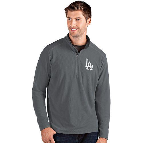 Men's Antigua Los Angeles Dodgers Grey Glacier Quarter-Zip Pullover
