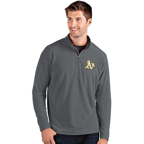 Men's Antigua Oakland Athletics Grey Glacier Quarter-Zip Pullover
