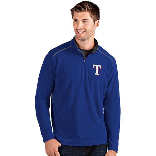 Men's Antigua Texas Rangers Blue Glacier Quarter-Zip Pullover