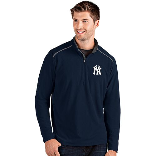 Men's Antigua New York Yankees Blue Glacier Quarter-Zip Pullover