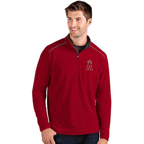 Men's Antigua Los Angeles Angels of Anaheim Red Glacier Quarter-Zip Pullover