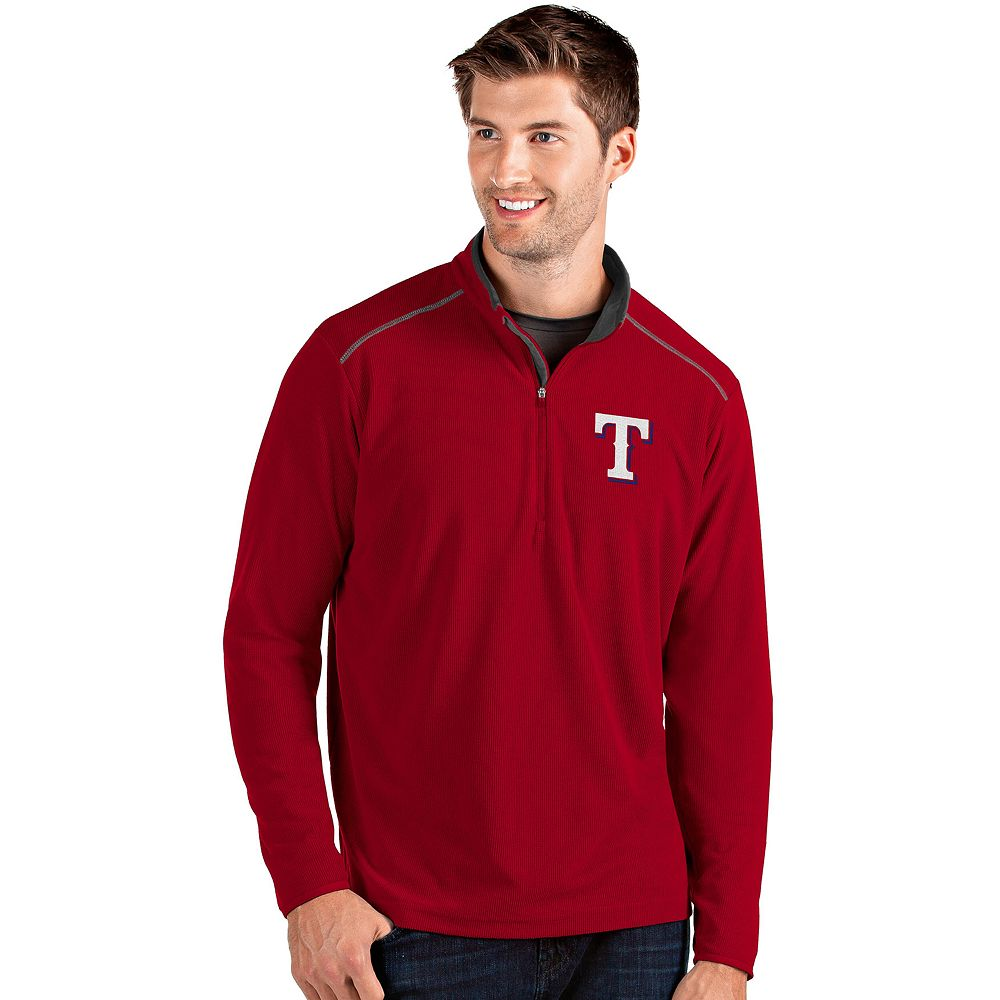 Men's Antigua Texas Rangers Red Glacier Quarter-Zip Pullover