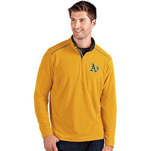 Men's Antigua Oakland Athletics Yellow Glacier Quarter-Zip Pullover