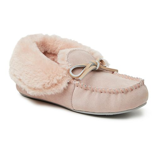 Women's Dearfoams Genuine Suede Fold-Over Moccasin with Tie