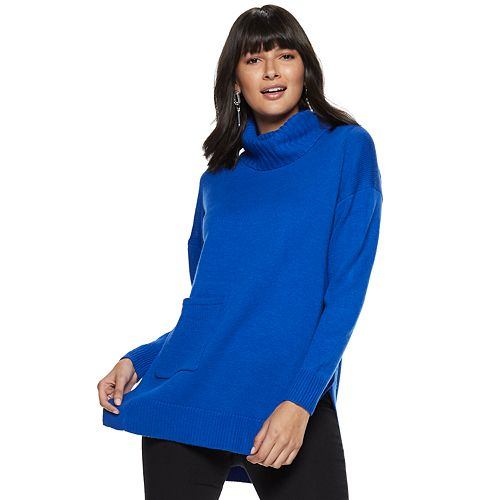 Women's Nine West Pocket Turtleneck Oversized Sweater