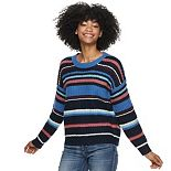 Juniors' Pink Republic Striped Crewneck Pullover Sweater