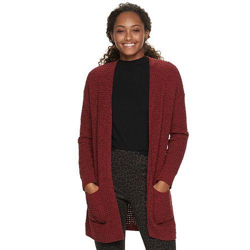 Juniors' Pink Republic Chenille Cardigan Sweater