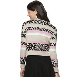 Juniors' Candie's Striped Meet & Greet Cardigan Sweater