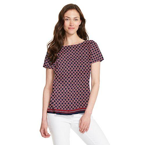Women's IZOD Print Twist-Back Top