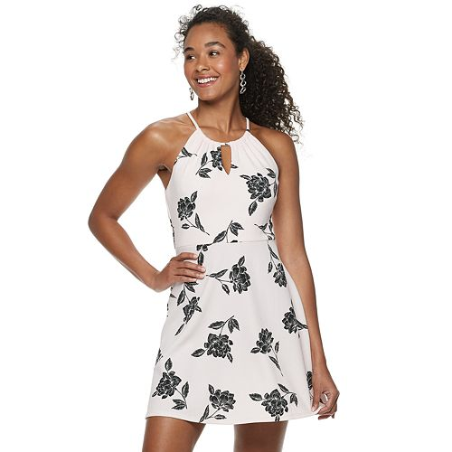 Juniors' Candie's® Keyhole Halter Fit & Flare Dress