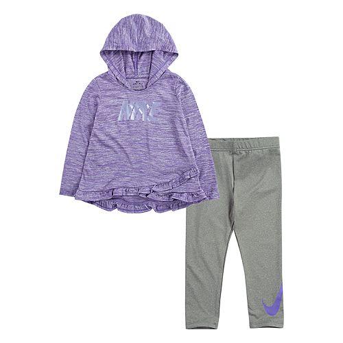 Toddler Girl Nike Dri-FIT Ruffle Trim Pullover Hoodie & Leggings Set