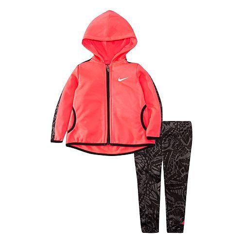 Toddler Girl Nike Dri-FIT Thermal Fleece Zip Hoodie & Leggings Set