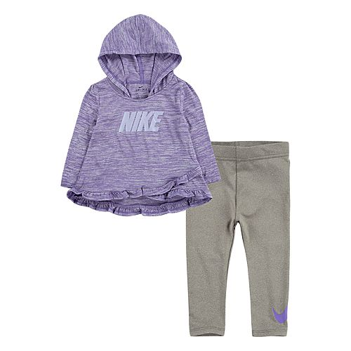 Baby Girl Nike 2-Piece Dri-FIT Pullover Ruffle Hoodie & Leggings Set