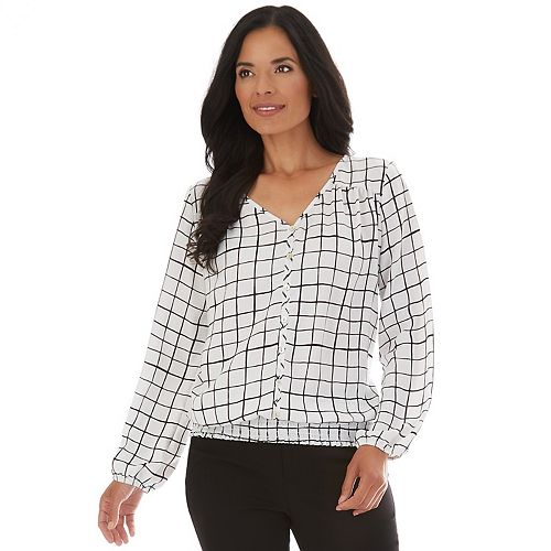Women's Apt. 9® Smocked-Hem Button-Down Blouse